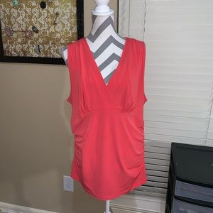 George plus 2X coral ruched sides faux wrap top